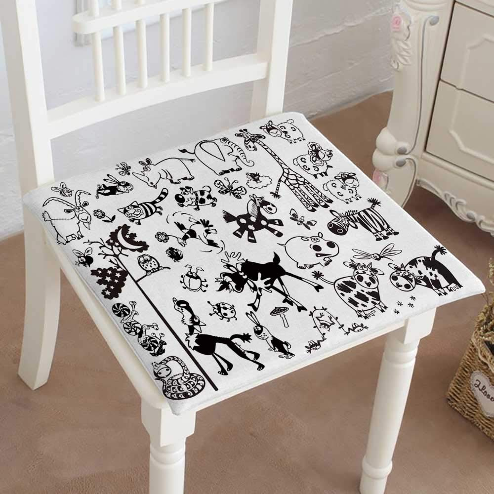 Mikihome Memory Foam Chair Pads Cartoon Animals Vector Pictures Isolated on White Background Children Cushion Perfect Indoor/Outdoor 32''x32''x2pcs