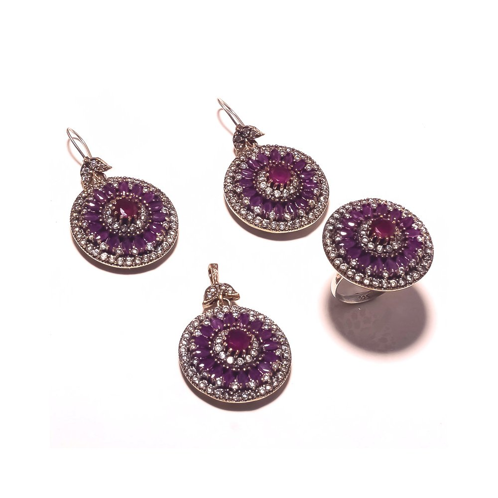 Be You Amazing Red Glass Rhodium Plated Brass & Silver Turkish Earring, Ring & Pendant Set for Women