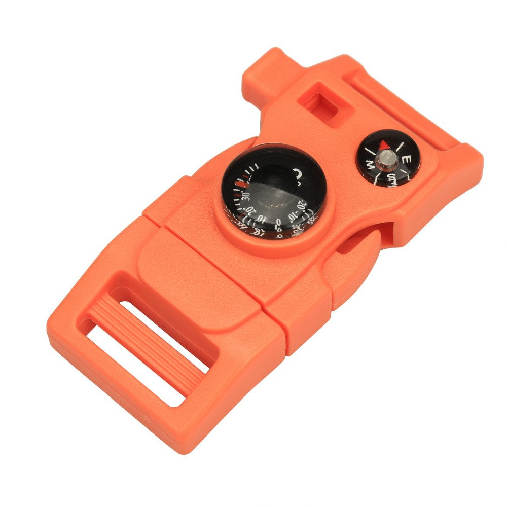 Camping & Hiking Dartphew 1Pcs [ Side Buckle With Whistle Compass Flint Fire Starter ] - Camping Hiking - Durable accessories for you(Size:2.5CMX3CM) (Orange)