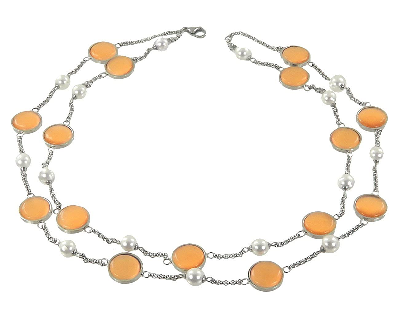 Single Stainless Steel Orange Color Glass Necklace Double