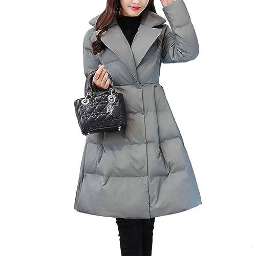 Moda Largo Escote en V Ropa acolchada de algodón Para mujeres Invierno Calentar Chaqueta Con Bowknot