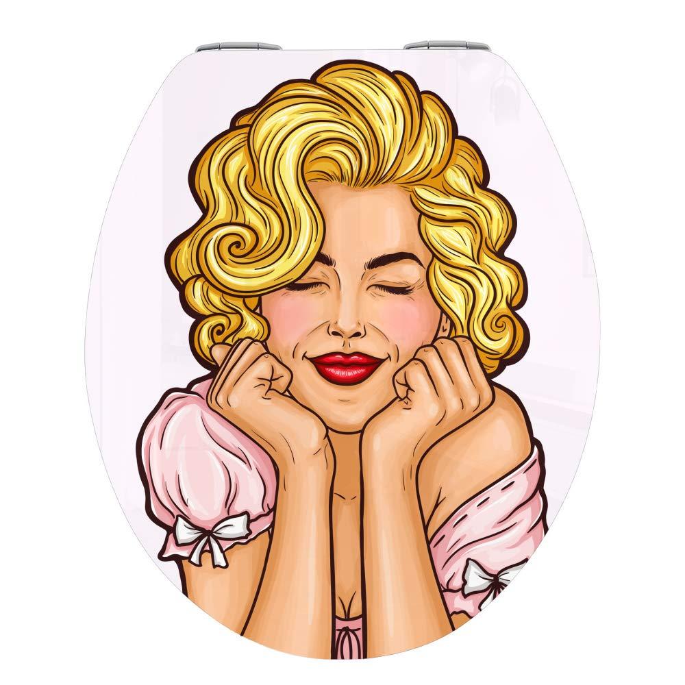 montaggio facile Marilyn Monroe qualit/à stabile Sedile WC con abbassamento automatico in legno MDF stile retr/ò