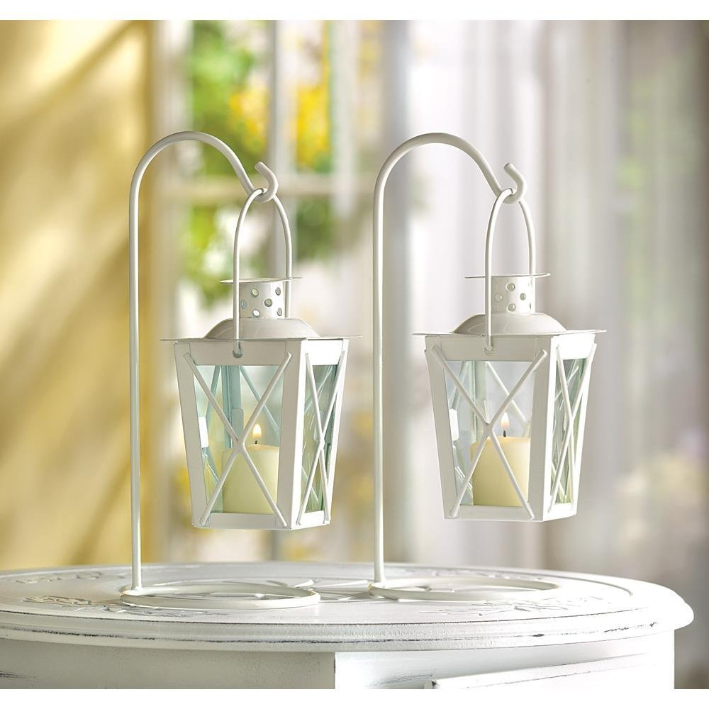 White Railroad Mini Lanterns Tea Light Candle Holders Set of 2 | ChristmasTablescapeDecor.com
