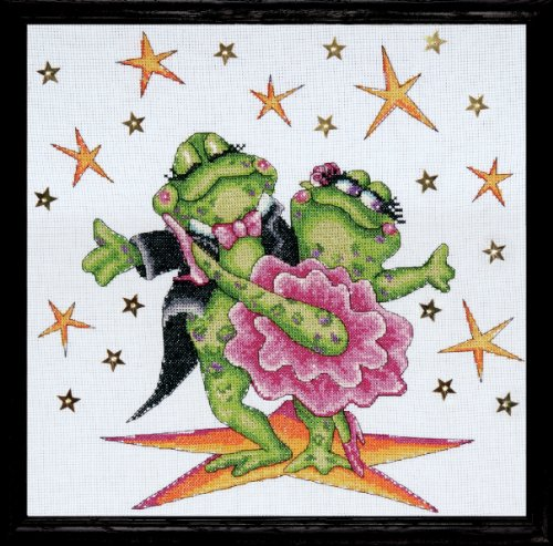 Tobin DW2776 14 Count Dancing Frogs Counted Cross Stitch Kit, 12 by 12-Inch