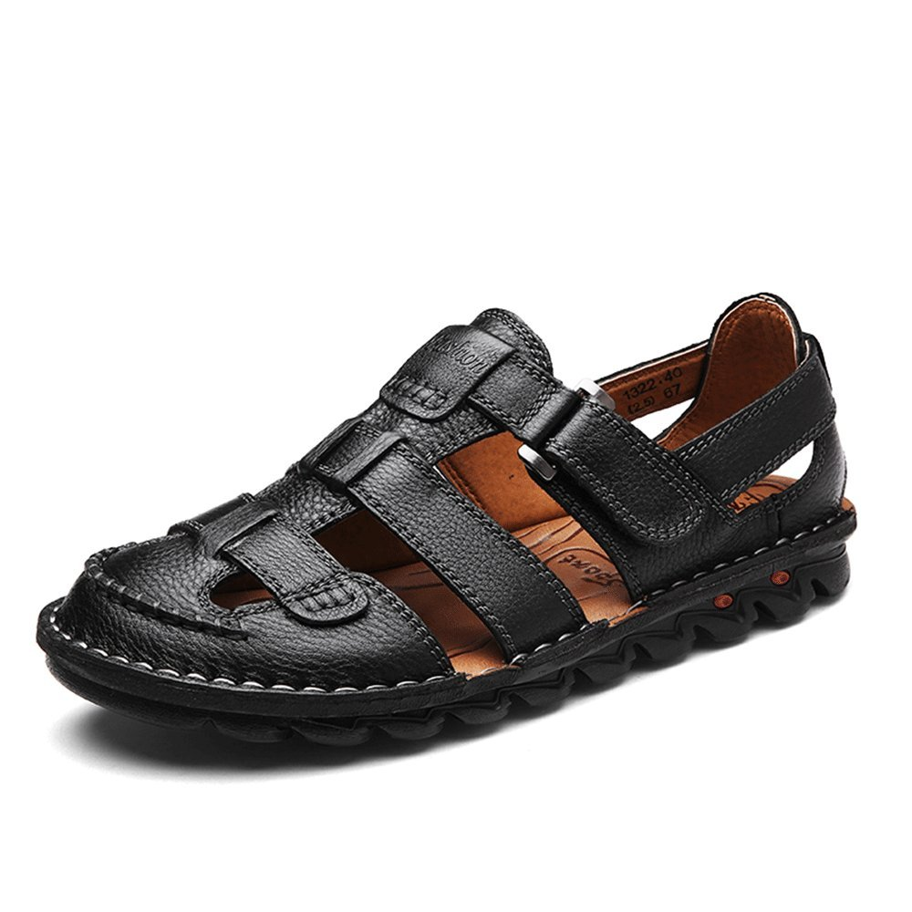 UPIShi Mens Casual Closed Toe Leather Sandals Outdoor Fisherman Adjustable Summer Shoes Black 44