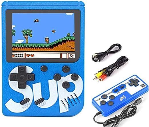 Portátil retro del jugador del juego, consola de juegos portátil, Niños Arcade Mini games3.0 pulgadas pantalla a color con 400 Clásica FC Juegos de soporte para conectar reproductores de TV y dos,Azul: