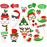 31 Pcs Merry Christmas Photo Booth Props for DIY Christmas Eve Party Favors