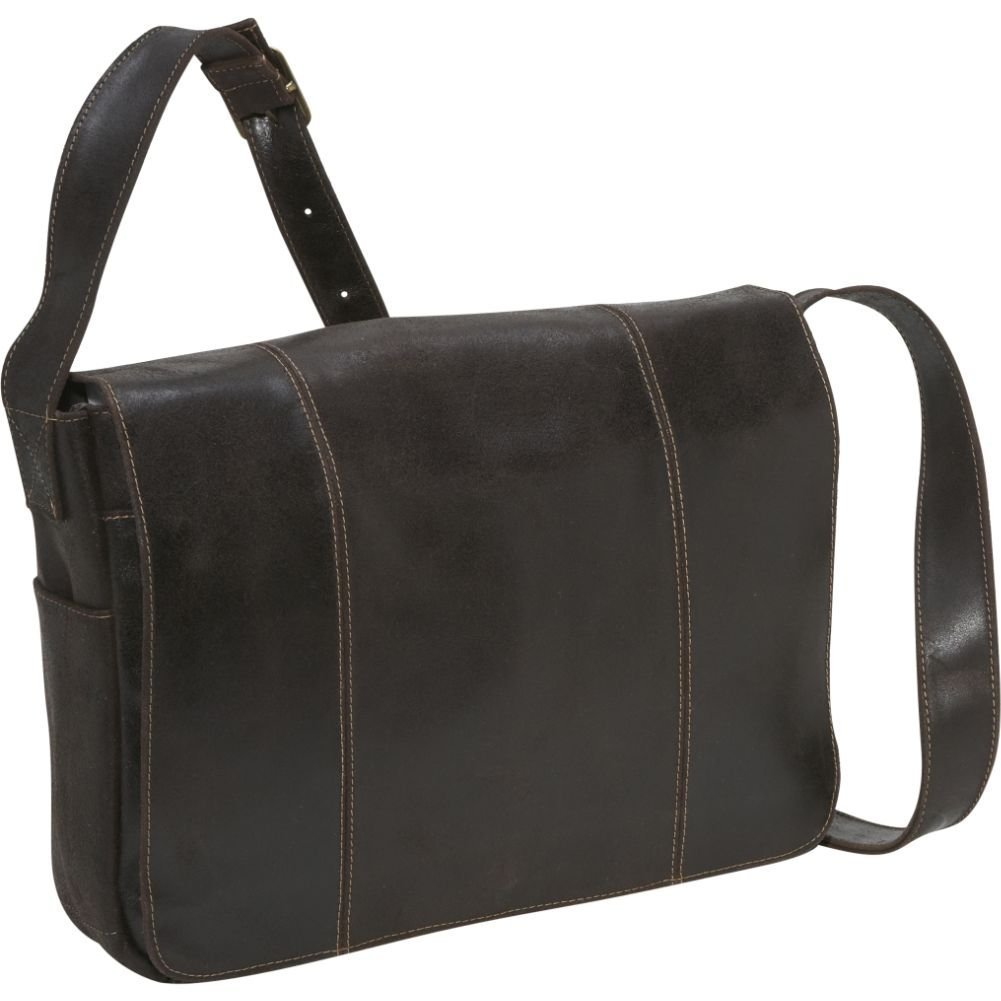 Le Donne Distressed Leather Laptop Messenger Bag, Computer Bag in Chocolate