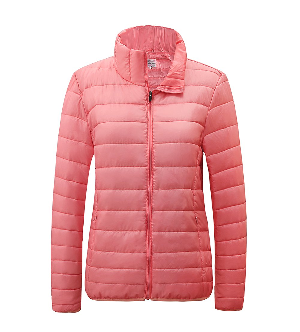 SUNDAY ROSE Womens Packable Jacket Lightweight Puffer Quilted Coat Pink - Size 2XL