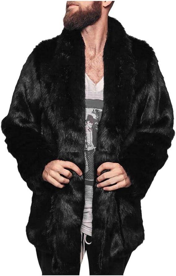 PLOT Herren Mantel Faux Fur Winter Warm Übergrößen Pelz