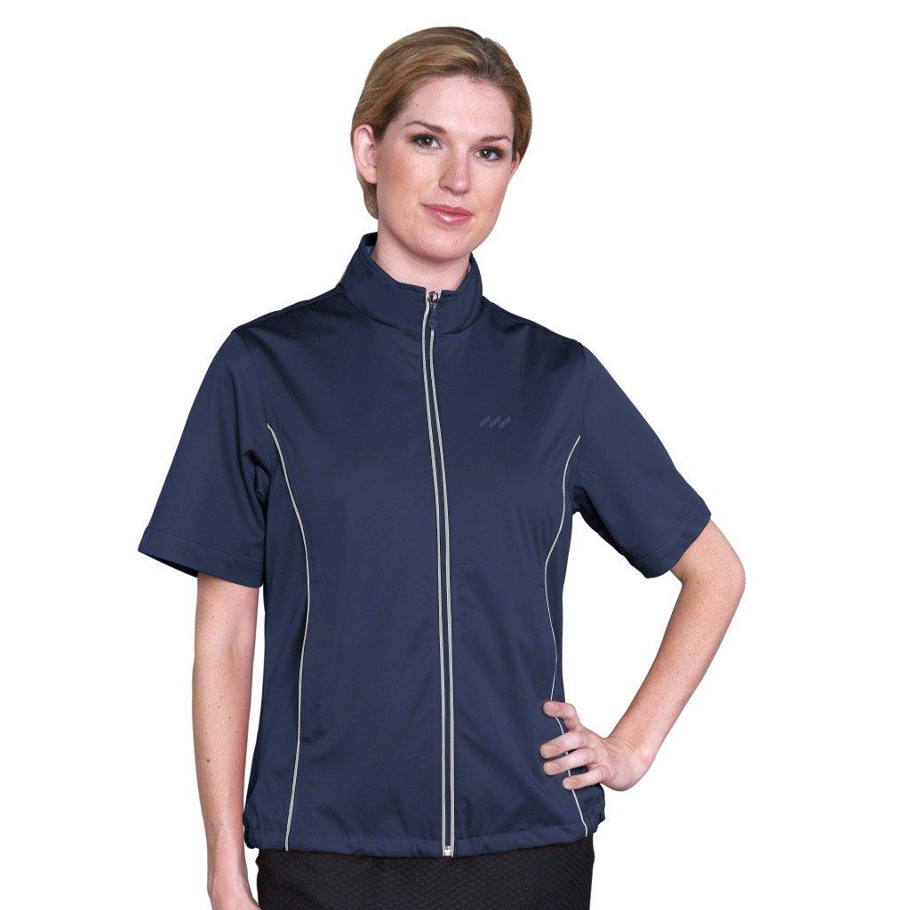 Monterey Club Ladies Half Sleeveマイクロファイバードビー撥水Windshirt # 2763 B00M0CG1FE XL|ネイビー/ホワイト ネイビー/ホワイト XL