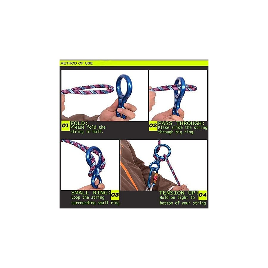 kaiCran Safety 35KN Aluminum Figure 8 Descender for Rock Climbing Rope Rescue Rappelling