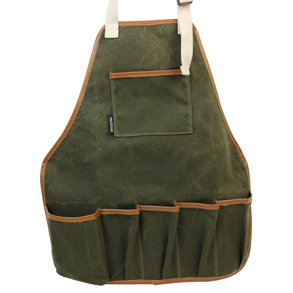 INNO STAGE Garden Tools Apron,Waxed Canvas Work Bib Aprons with Pockets,Full Coverage Utility Apron,Hand Tool Organizers,Gardening Carpentry Lawn Care Accessories for Women and Men-Green