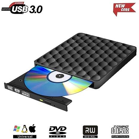 Grabadora DVD Externa, USB 3.0 Unidad Lector CD DVD Externo Ultra Slim Portátil CD DVD+