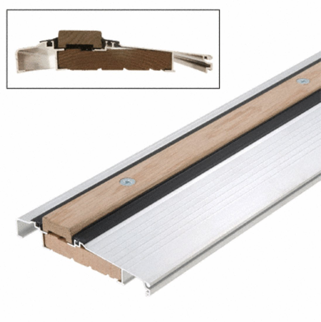 Aluminum 73'' Outswing Adjustable Oak Top Threshold