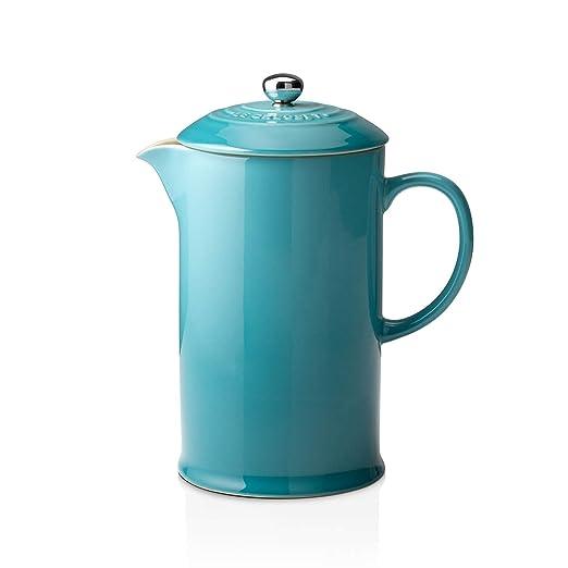 Le Creuset Cafetera Francesa con Prensa de Acero Inoxidable, Cerámica de gres, Azul(Caribe), 800 ml