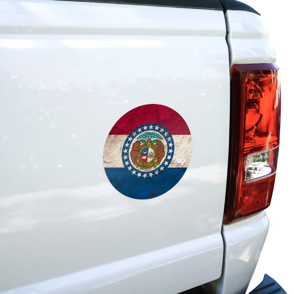 GRAPHICS /& MORE Rustic Missouri State Flag Distressed USA Automotive Car Window Locker Circle Bumper Sticker