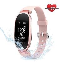 Mujeres Pulsera Deportiva Inteligente de Actividades Fitness Tracker Impermeable IP67 Monitor de Pulso Cardiaco Bluetooth con Contador de Calorias y Pasos/Monitor de Sue?o/Reloj para iOS y Android