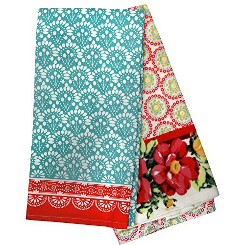 The Pioneer Woman Vintage Floral Geo Kitchen Towels - Set of 2 Retro Kitchen Towels