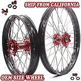 KKE Honda Enduro CNC Wheels Rims Set Kit 21/18 CR125R CR250R 19996-1999 CR500R 1996-2001 Red Hub & Nipple