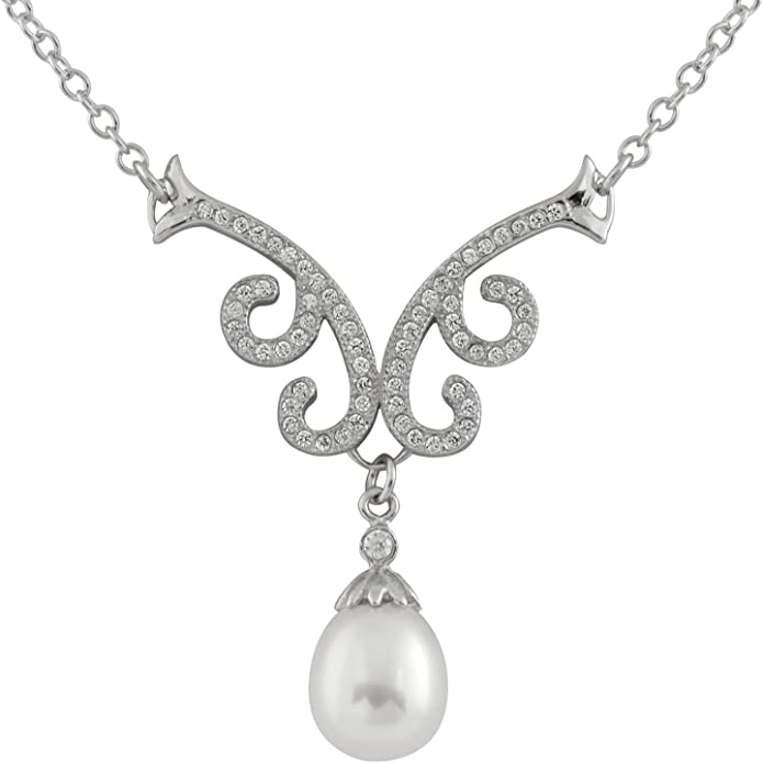 Necklace 16 Plus 1 Extender Handpicked AA White 8-9mm Freshwater Cultured Pearl Sterling Silver Rhodium-Plated Collier Drop Y