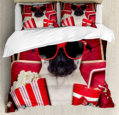 Pug Queen Size Duvet Cover Set by Ambesonne, Funny Dog Watching Movie Popcorn Soft Drink and Glasses Animal Photograph Print, Decorative 3 Piece Bedding Set with 2 Pillow Shams, Red Cream Ruby by Ambesonne