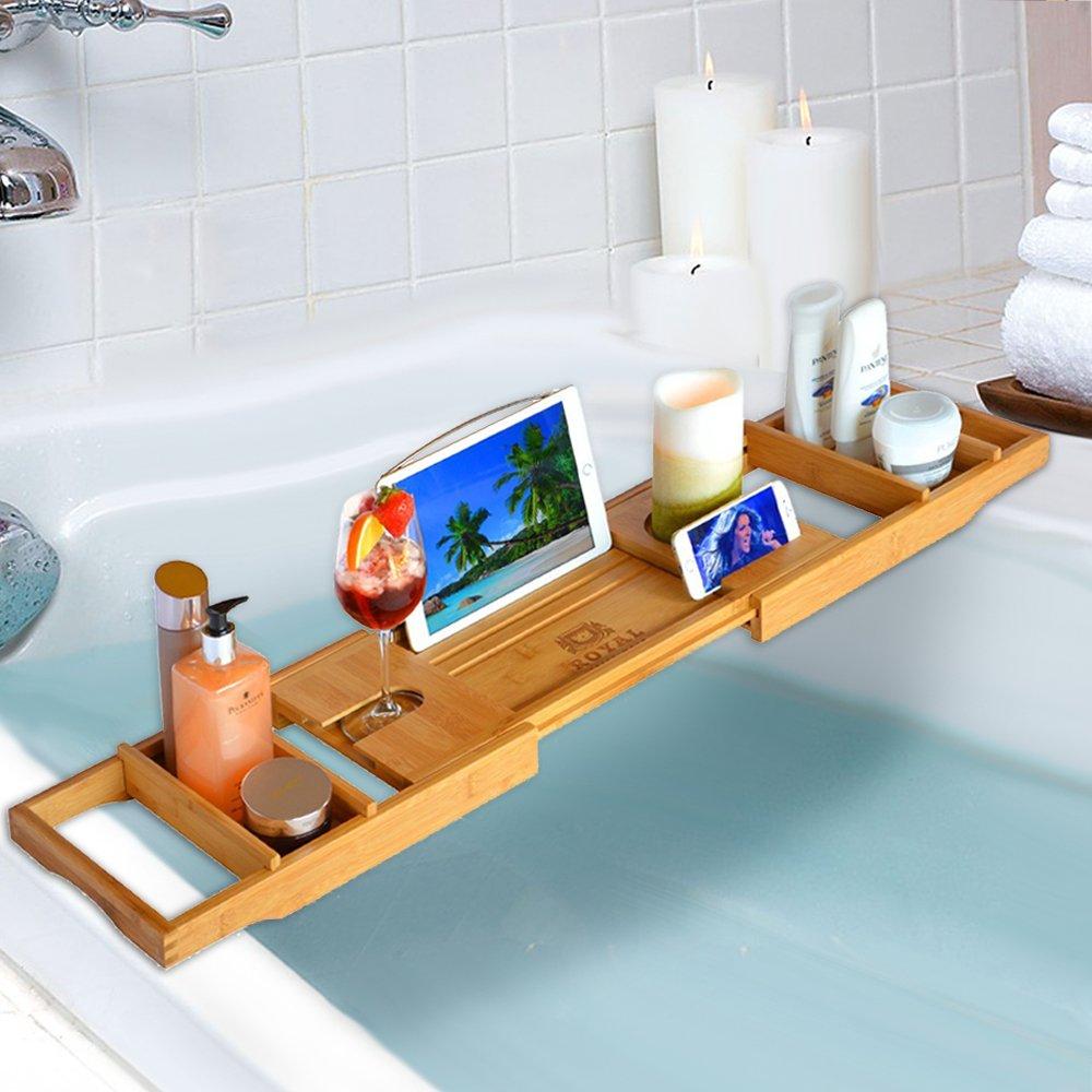ROYAL CRAFT WOOD Luxury Bathtub Caddy Tray, Bonus FREE Soap Holder ...