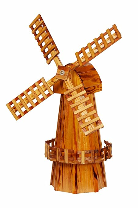 Wooden Windmill Medium Amish Made With Varnished Burnt Grain Finish