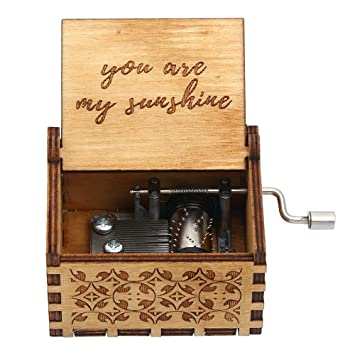 """Wooden Music Box /""""You Are My Sunshine/"""" Engraved Musical Case Toys Kids Gifts UK"""