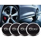 Black Silver Forten 4pcs FIAT 500 alloy wheel center CAP Nuts and bolt covers with black base 5cc 60mm Auto Car wheel center hubcaps auto rim cap