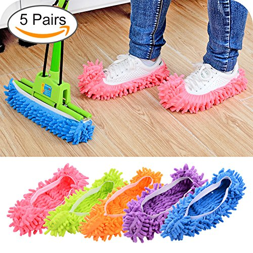 Mop Slippers - Lanting Dusting Mop Slippers, 5 Pairs Microfiber Sweeping Slippers House Floor Polishing Slippers Dusting Cleaning Foot Socks Shoes
