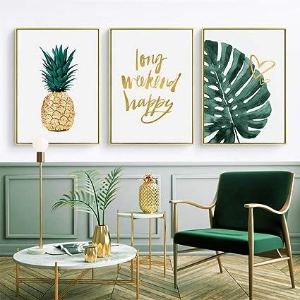 Zshscl Impression Sur Toile Or Ananas Moderne Modele