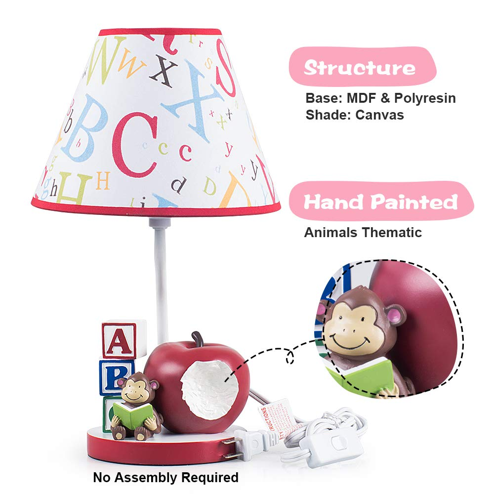 Kids Table Lamps for Bedrooms Nursery Animals Thematic Hand Painted Decor Night Light Gift Penguin