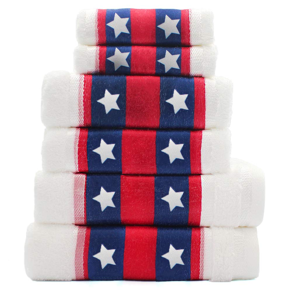 Cotton Bath Towels Set of 6-2 Bath Towels, 2 Hand Towels, 2 Washcloths Machine Washable Super Absorbent Hotel Spa Quality Luxury Towel Gift Sets Printed Towels Set - America, White