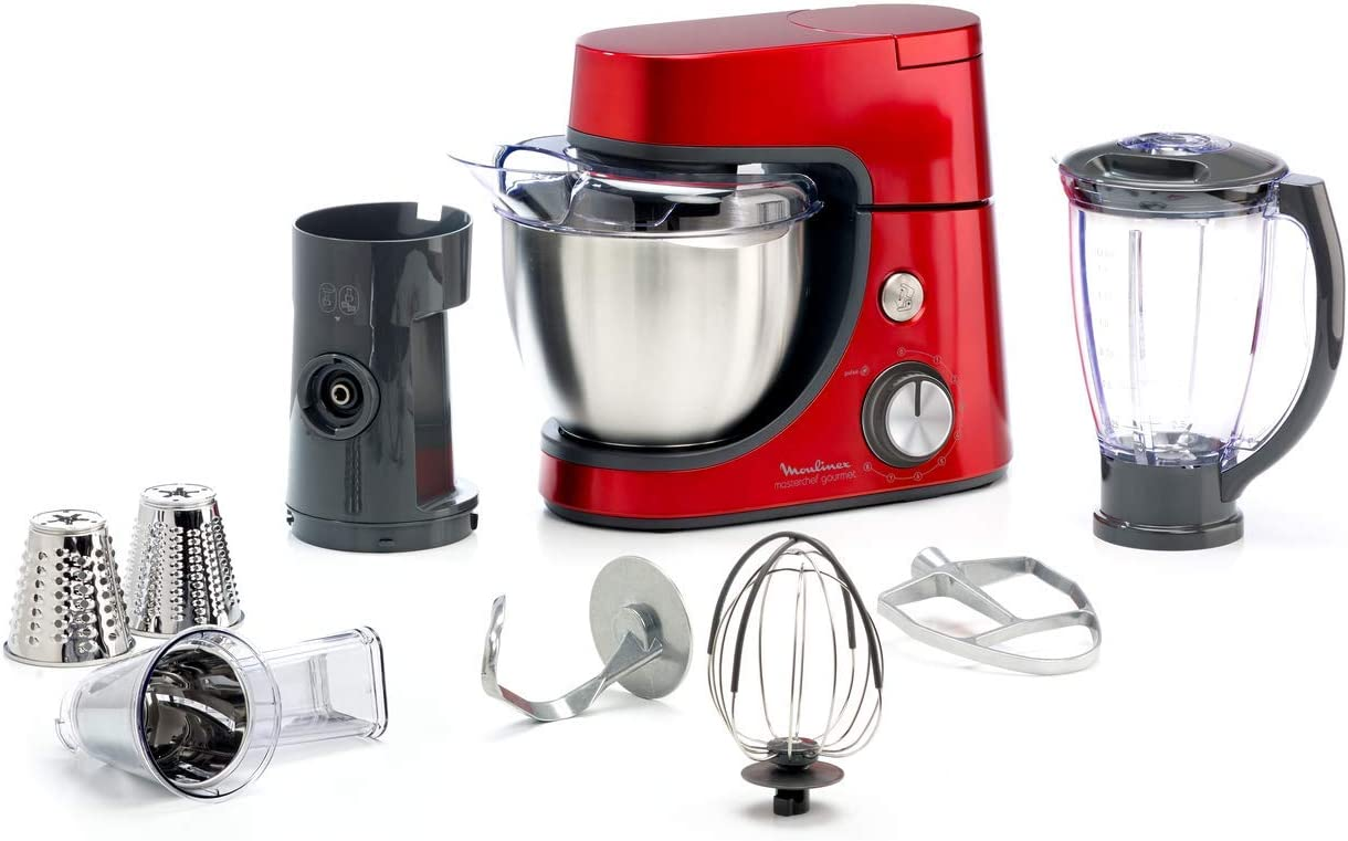 Moulinex QA512G10 - Robot de cocina (4,6 L, Rojo, Acero inoxidable, 1100 W, 7 pieza(s))