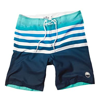 013c315852 Hollister Men's Classic Fit Swim Shorts Trunks Beach Boardshorts, Size XL,  Blue and Turquoise