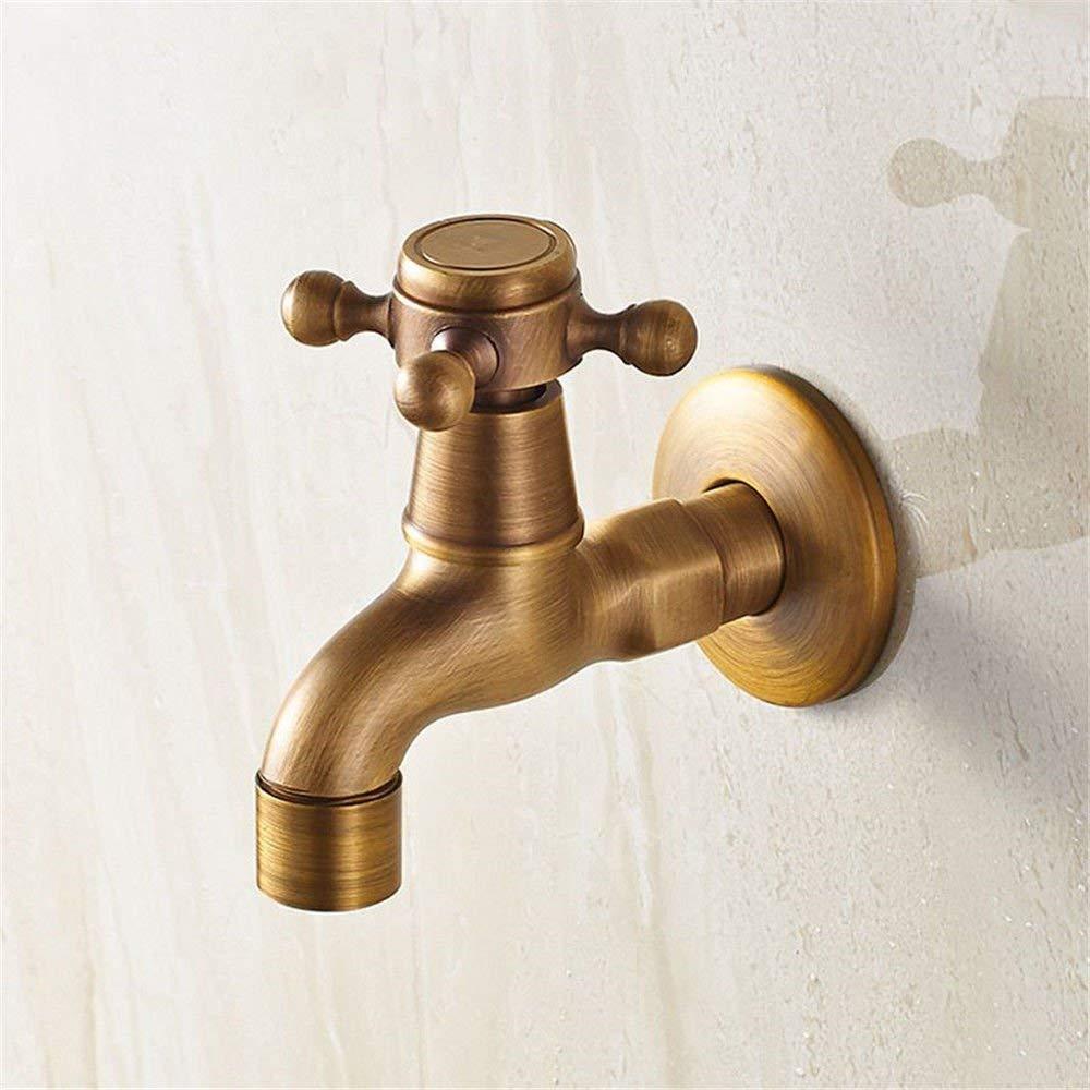 JingJingnet シンクミキサータップ浴室の台所の洗面器の水栓漏れ防止保存水アンティークシングルコールドソリッドブラスタップタップ (Color : C) B07S2P8GYQ C