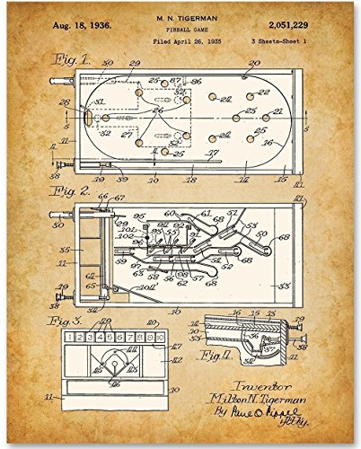 Pinball - 11x14 Unframed Patent Print - Great Gift for Game Room Decor (Pinball Magic)