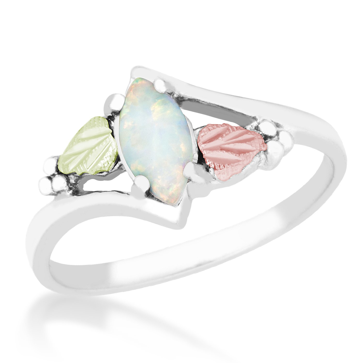 Created Opal Marquise Cabochon Bypass Ring, Sterling Silver, 12k Gold Pink and Green Gold, Size 5.5
