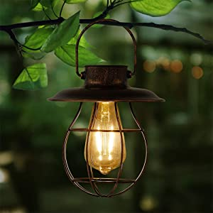 Hanging Solar Light Lantern Outdoor - Pearlstar Vintage Solar Powered Waterproof Metal Lantern with Edison Bulb, Great Decor for Pathway Garden Patio Porch (Warm Light)