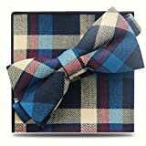 Men Bowties Set Pre-Tied Neck Tie Cotton Plaid Gorgeous Tuxedo Bow Tie Set(Blue)