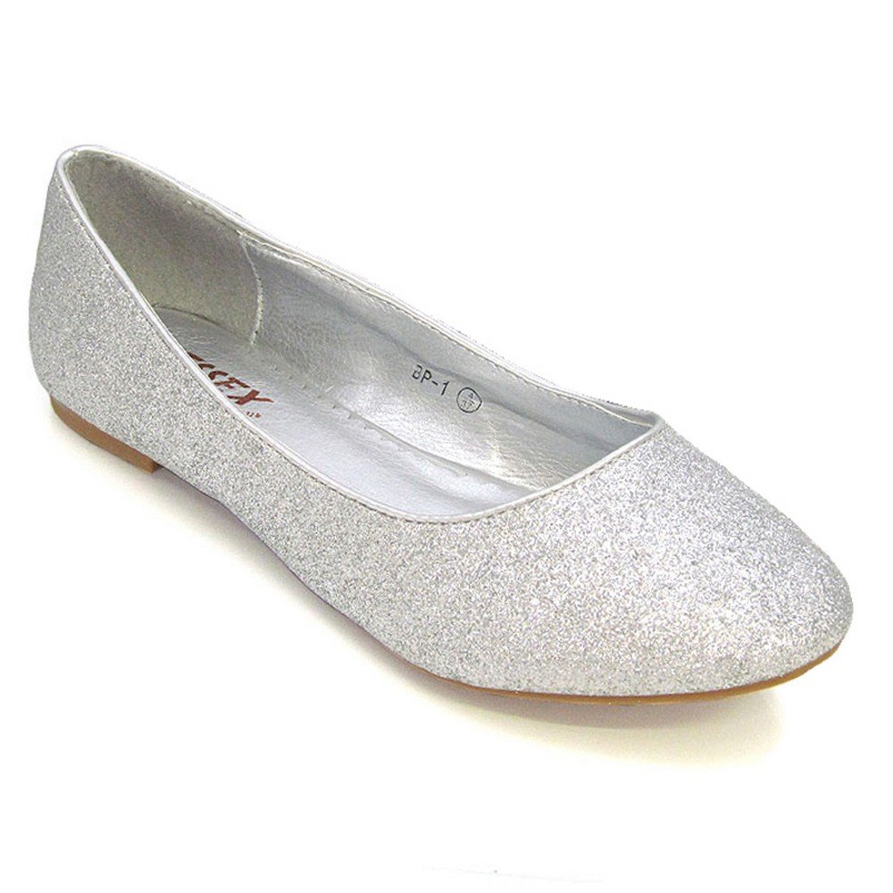 fbb1ab0fe684f ESSEX GLAM New Womens Flat Pumps Ladies Glitter Ballet Ballerina Dolly  Bridal Shoes Size: Amazon.co.uk: Shoes & Bags