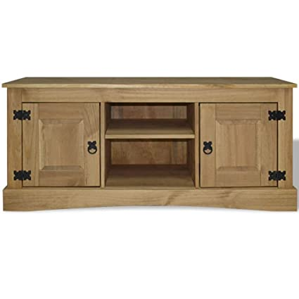 Amazon Com Festnight Wooden Tv Stand With 2 Side Storage Cabinet