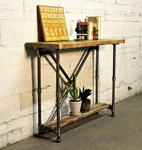 FURNITURE PIPELINE Industrial 2-Tier Pipe Console-Sofa Hall Table, Metal and Reclaimed Aged Wood Finish, Grey Steel Pipes and Brass Fittings with Natural Stained Wood ()