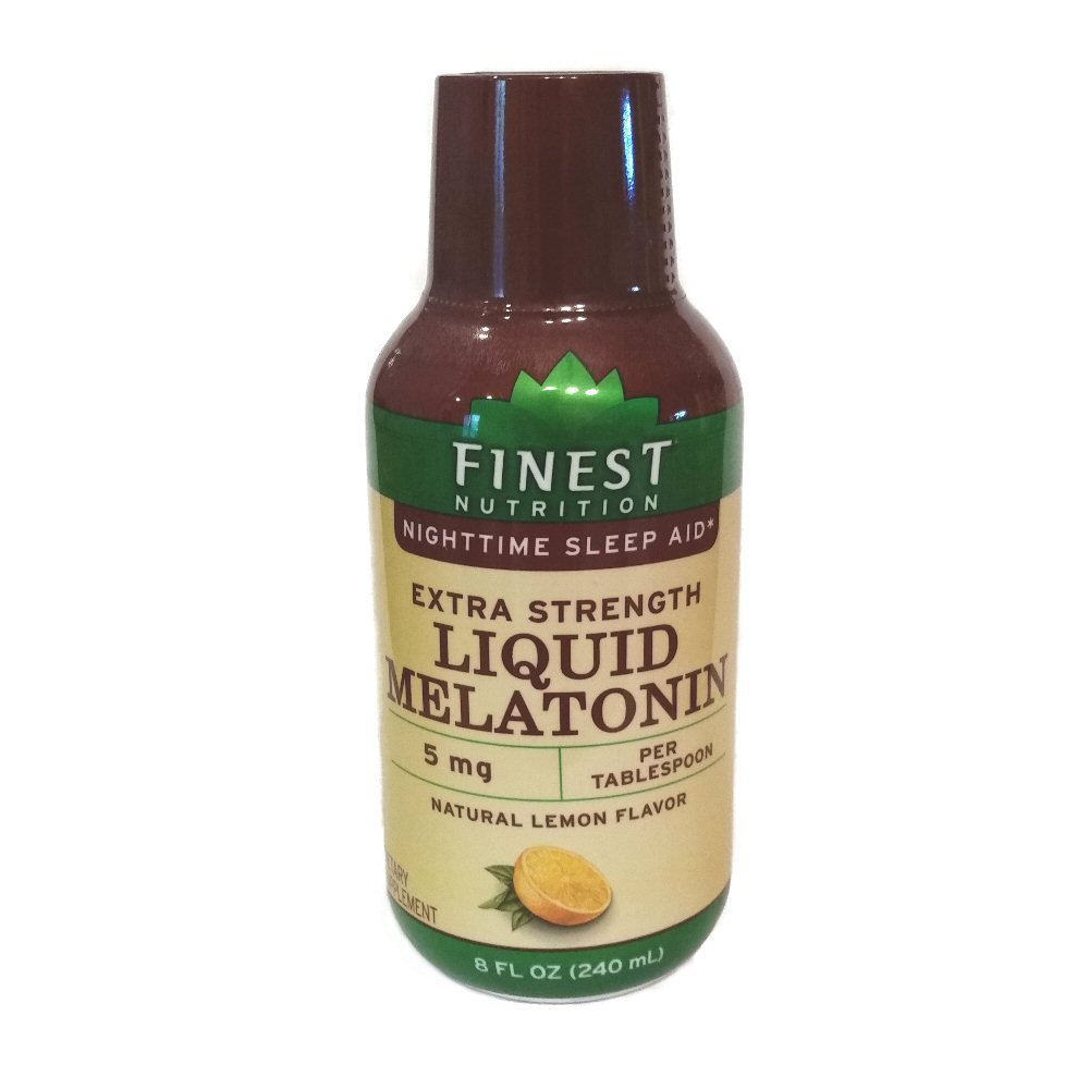 Amazon.com: Finest Nutrition Extra Strength Liquid Melatonin Nighttime Sleep Aid, 5 Mg Natural Lemon Flavor 8 Fl Oz (2 Pack): Health & Personal Care
