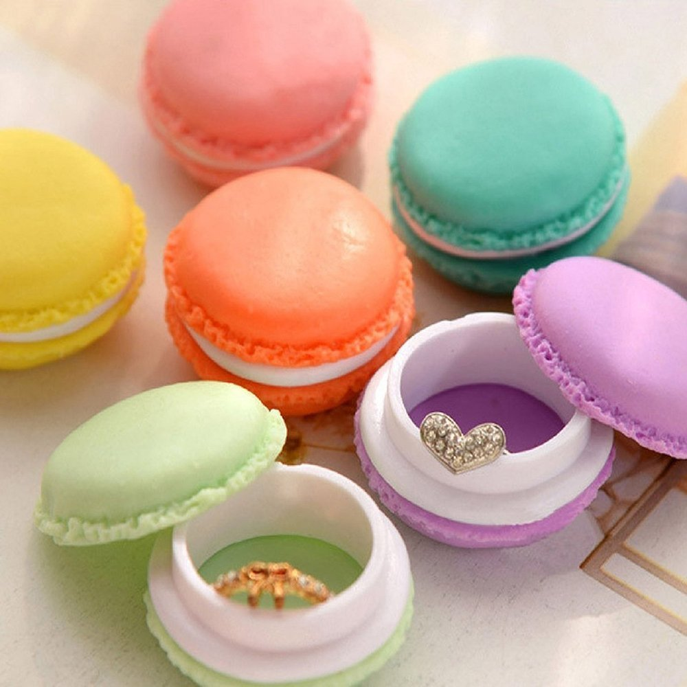 Union Tesco 6 Stück Mini Süß Bunt Macaron Döschen Kopfhörer Ohrringe SD-Karte Organizer (zufällige Farbe)