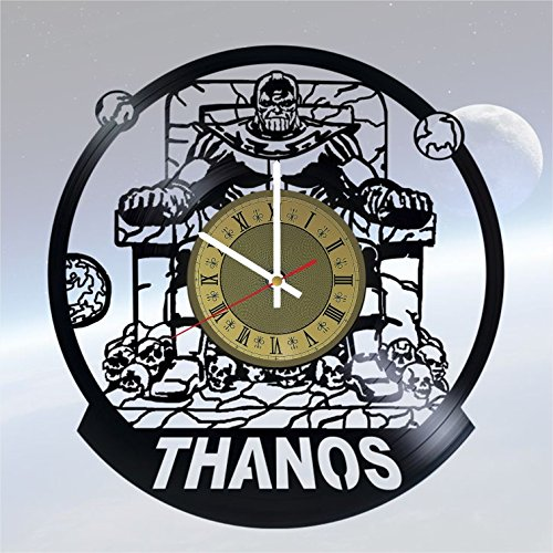Thanos villain Marvel Comics vinyl wall clock great gift for men, women, kids, girls and boys, birthday, christmas beautiful home decor - unique design that made out of vinyl LP record ()