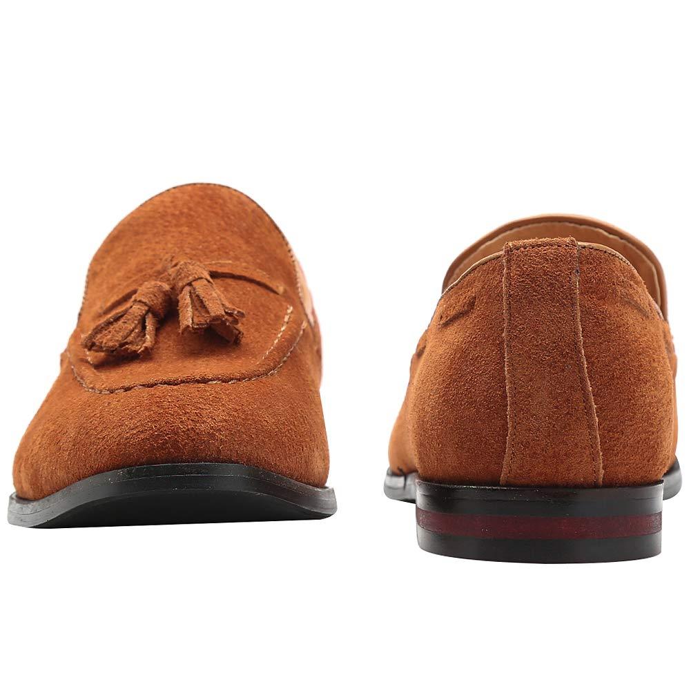 rismart Hombre Hecho a Mano Borlas Mocasines Ante de Vestir Zapatos Uniforme Mocas/ín