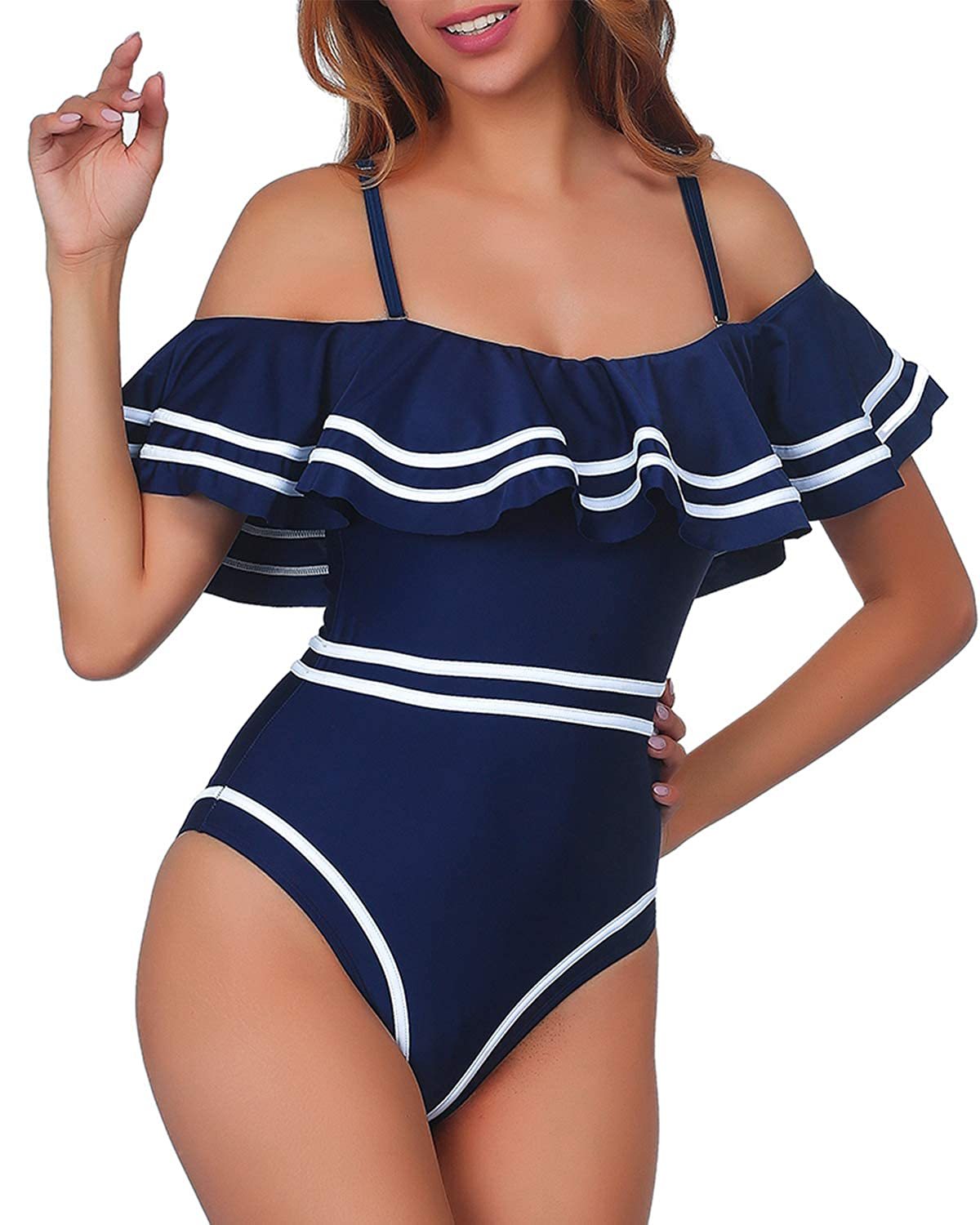 60s Mod Clothing Outfit Ideas Elegant Taste Women 1 Piece Vintage Navy Ruched Flounce Off Shoulder Swimwear High Waisted Swimsuit Monokini $26.99 AT vintagedancer.com