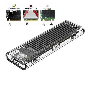 ORICO Carcasa NVMe M.2 para SSD de PCIe - Caja Adaptador USB 3.1 Gen 2 Type-C 10 Gbps para para SSD M2 de 2280(PCIe, NVMe, M-Key) - Transparente
